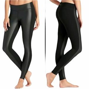 Athleta black faux leather leggings size small